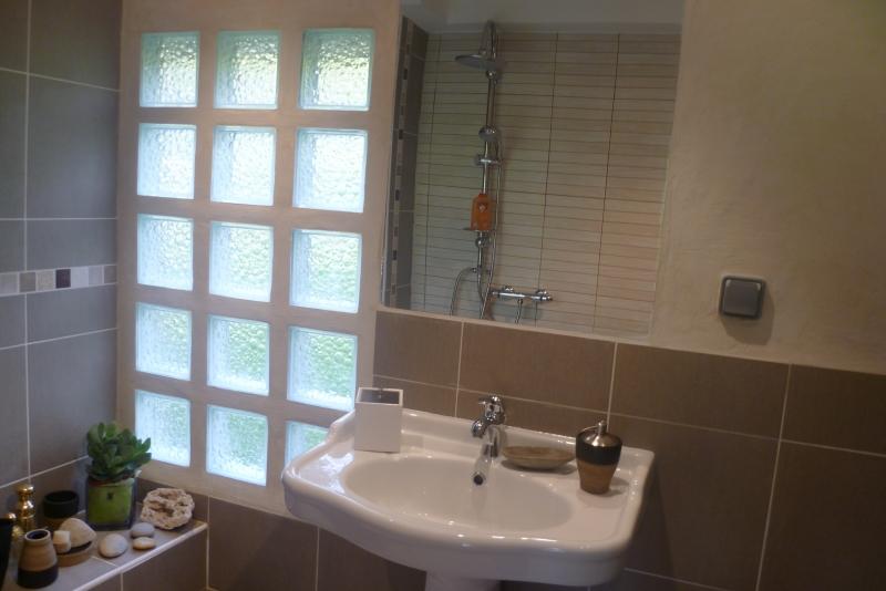 Salle de bain en brique de verre id es de d coration et for Type de verre pour fenetre salle de bain